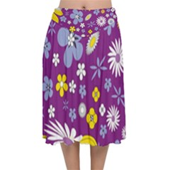 Floral Flowers Velvet Flared Midi Skirt