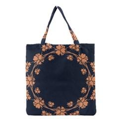 Floral Vintage Royal Frame Pattern Grocery Tote Bag