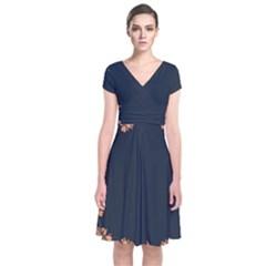 Floral Vintage Royal Frame Pattern Short Sleeve Front Wrap Dress