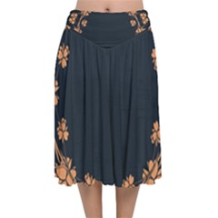Floral Vintage Royal Frame Pattern Velvet Flared Midi Skirt
