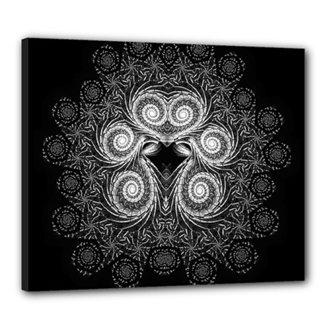 Fractal Filigree Lace Vintage Canvas 24  X 20