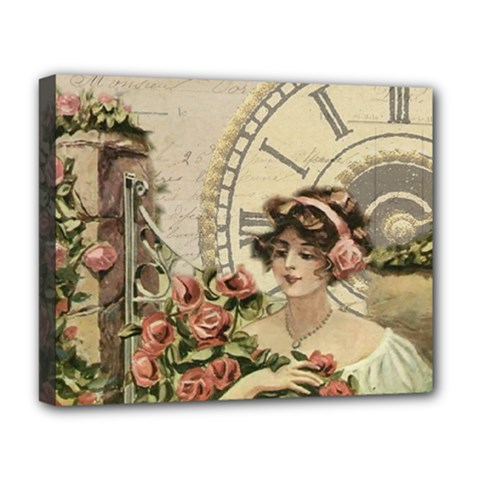 French Vintage Girl Roses Clock Deluxe Canvas 20  X 16