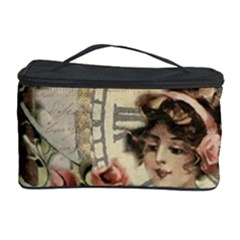 French Vintage Girl Roses Clock Cosmetic Storage Case