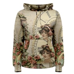 French Vintage Girl Roses Clock Women s Pullover Hoodie