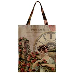 French Vintage Girl Roses Clock Zipper Classic Tote Bag