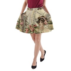 French Vintage Girl Roses Clock A Line Pocket Skirt