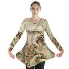 French Vintage Girl Roses Clock Long Sleeve Tunic