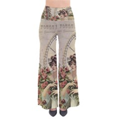 French Vintage Girl Roses Clock Pants