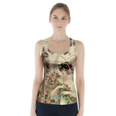 French Vintage Girl Roses Clock Racer Back Sports Top