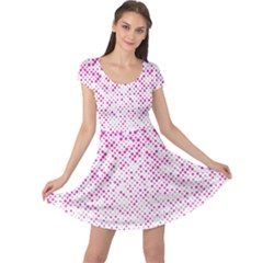 Halftone Dot Background Pattern Cap Sleeve Dress