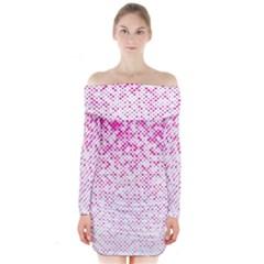 Halftone Dot Background Pattern Long Sleeve Off Shoulder Dress