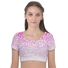 Halftone Dot Background Pattern Velvet Short Sleeve Crop Top
