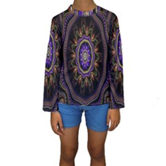 Fractal Vintage Colorful Decorative Kids  Long Sleeve Swimwear