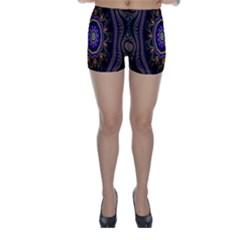 Fractal Vintage Colorful Decorative Skinny Shorts