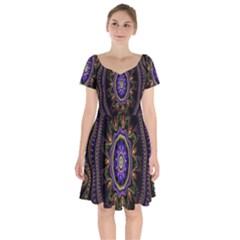 Fractal Vintage Colorful Decorative Short Sleeve Bardot Dress