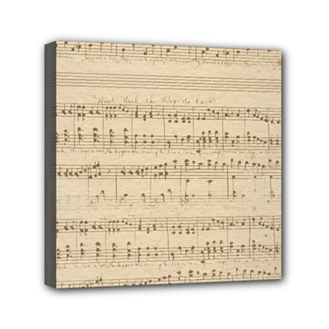 Vintage Beige Music Notes Mini Canvas 6  X 6