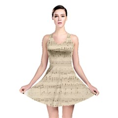 Vintage Beige Music Notes Reversible Skater Dress