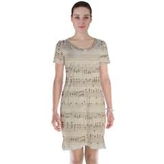 Vintage Beige Music Notes Short Sleeve Nightdress