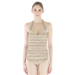 Vintage Beige Music Notes Halter Swimsuit