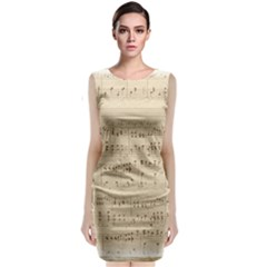 Vintage Beige Music Notes Classic Sleeveless Midi Dress
