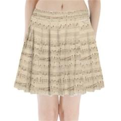 Vintage Beige Music Notes Pleated Mini Skirt