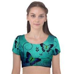 Texture Butterflies Background Velvet Short Sleeve Crop Top
