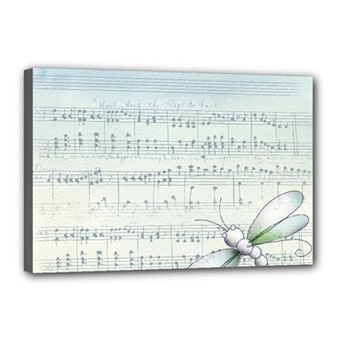 Vintage Blue Music Notes Canvas 18  X 12