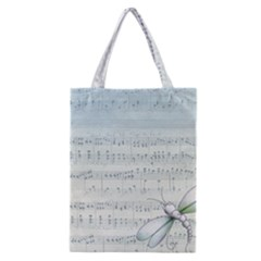 Vintage Blue Music Notes Classic Tote Bag