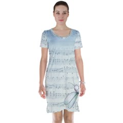 Vintage Blue Music Notes Short Sleeve Nightdress