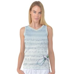 Vintage Blue Music Notes Women s Basketball Tank Top