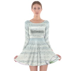 Vintage Blue Music Notes Long Sleeve Skater Dress