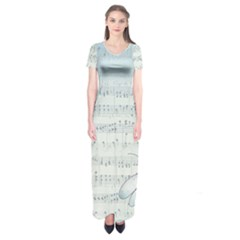 Vintage Blue Music Notes Short Sleeve Maxi Dress