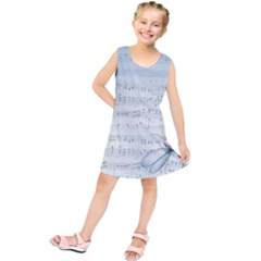 Vintage Blue Music Notes Kids  Tunic Dress