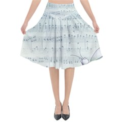 Vintage Blue Music Notes Flared Midi Skirt
