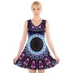 Kaleidoscope Shape Abstract Design V Neck Sleeveless Skater Dress