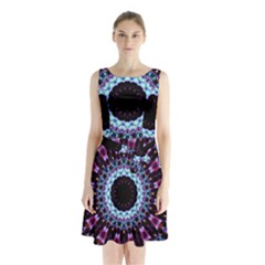 Kaleidoscope Shape Abstract Design Sleeveless Waist Tie Chiffon Dress
