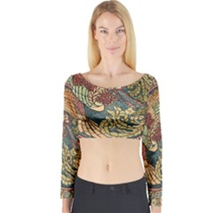 Wings Feathers Cubism Mosaic Long Sleeve Crop Top