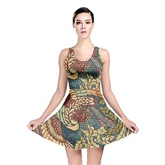Wings Feathers Cubism Mosaic Reversible Skater Dress