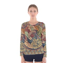 Wings Feathers Cubism Mosaic Women s Long Sleeve Tee