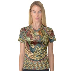 Wings Feathers Cubism Mosaic V Neck Sport Mesh Tee