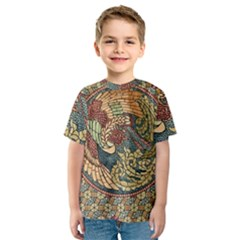Wings Feathers Cubism Mosaic Kids  Sport Mesh Tee