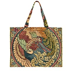 Wings Feathers Cubism Mosaic Zipper Large Tote Bag