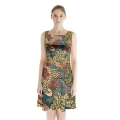 Wings Feathers Cubism Mosaic Sleeveless Waist Tie Chiffon Dress