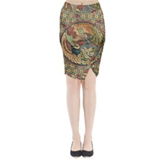 Wings Feathers Cubism Mosaic Midi Wrap Pencil Skirt