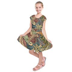 Wings Feathers Cubism Mosaic Kids  Short Sleeve Dress