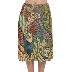Wings Feathers Cubism Mosaic Velvet Flared Midi Skirt