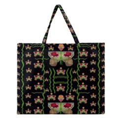 Roses In The Soft Hands Makes A Smile Pop Art Zipper Large Tote Bag