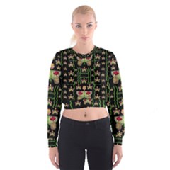 Roses In The Soft Hands Makes A Smile Pop Art Cropped Sweatshirt