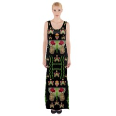 Roses In The Soft Hands Makes A Smile Pop Art Maxi Thigh Split Dress