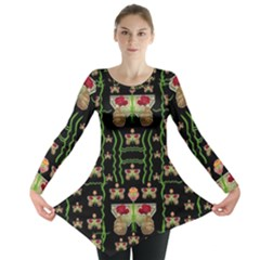 Roses In The Soft Hands Makes A Smile Pop Art Long Sleeve Tunic